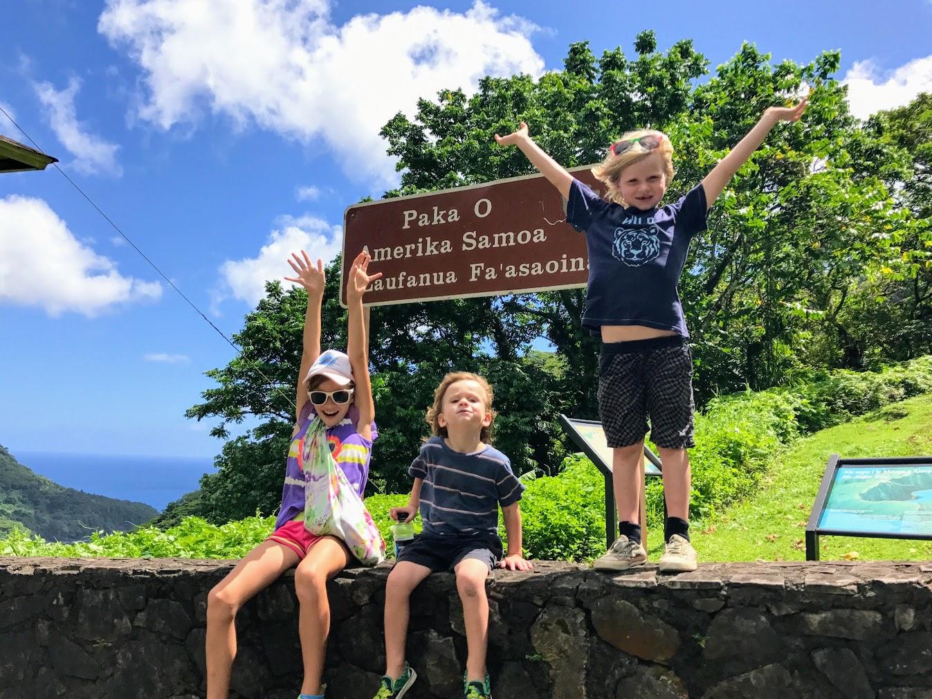 AmSamFam Kids at the National Park of American Samoa