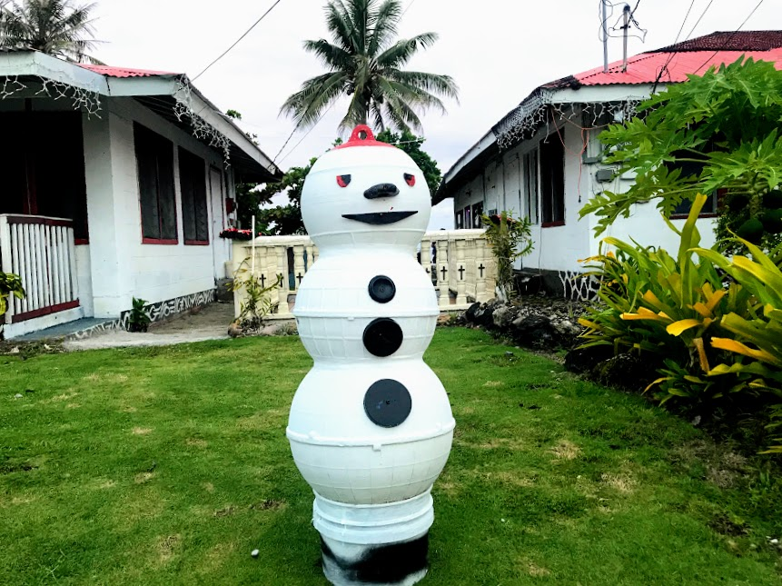 Snowman Made from Buoys