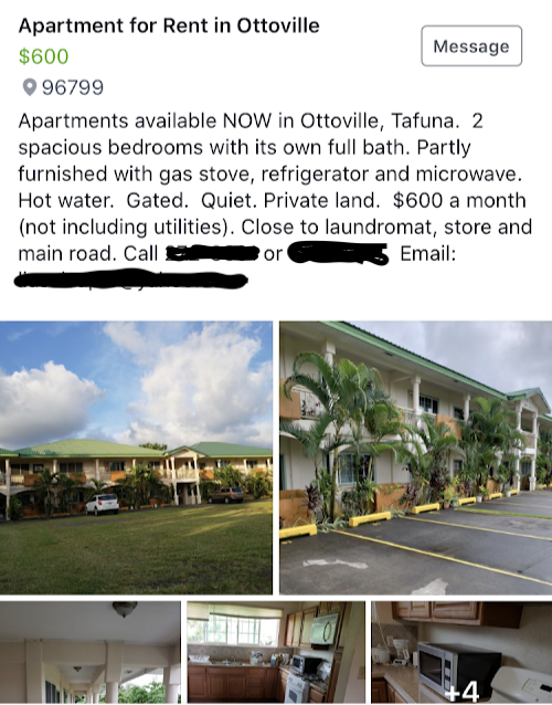 Facebook Post for Finding a Rental House In American Samoa