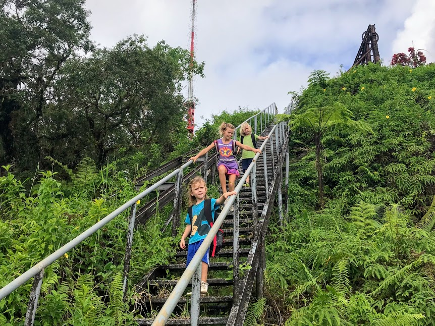 Kids on the stairs leading to the Mount Alava summit