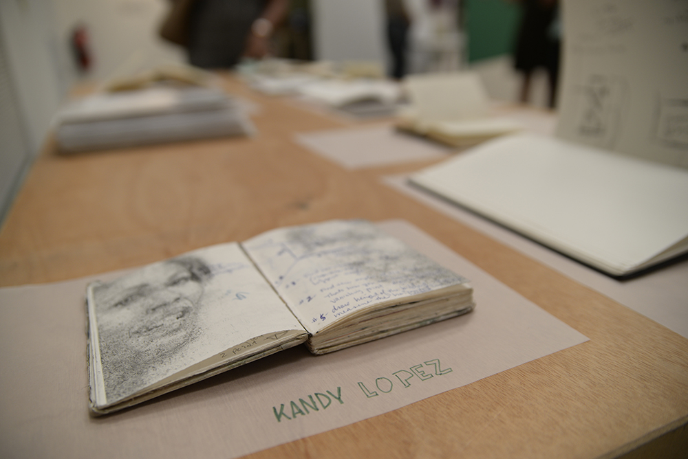 Flip Out: Artists' Sketchbooks, installation view, Kandy Lopez, photo by Voltagge