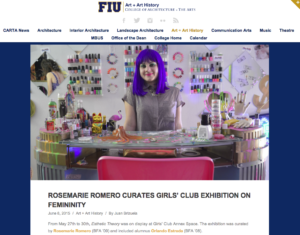 CARTANews-RosemarieRomeroCuratesGirlsClubExhibitiononFemininty,2015