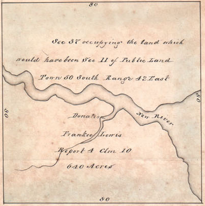 Spanish Land Grant claim for the property of widow Frankee Lewis, ca. 1788s.