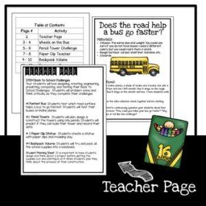 STEM Back to School Activities K-2
