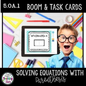 Boom Cards™ Distance Learning Solving Equations and Task Cards