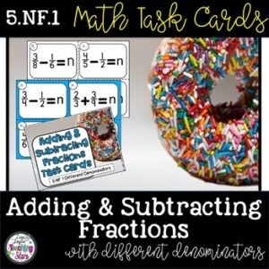 Math Task Cards Adding and Subtracting Fractions 5th Grade