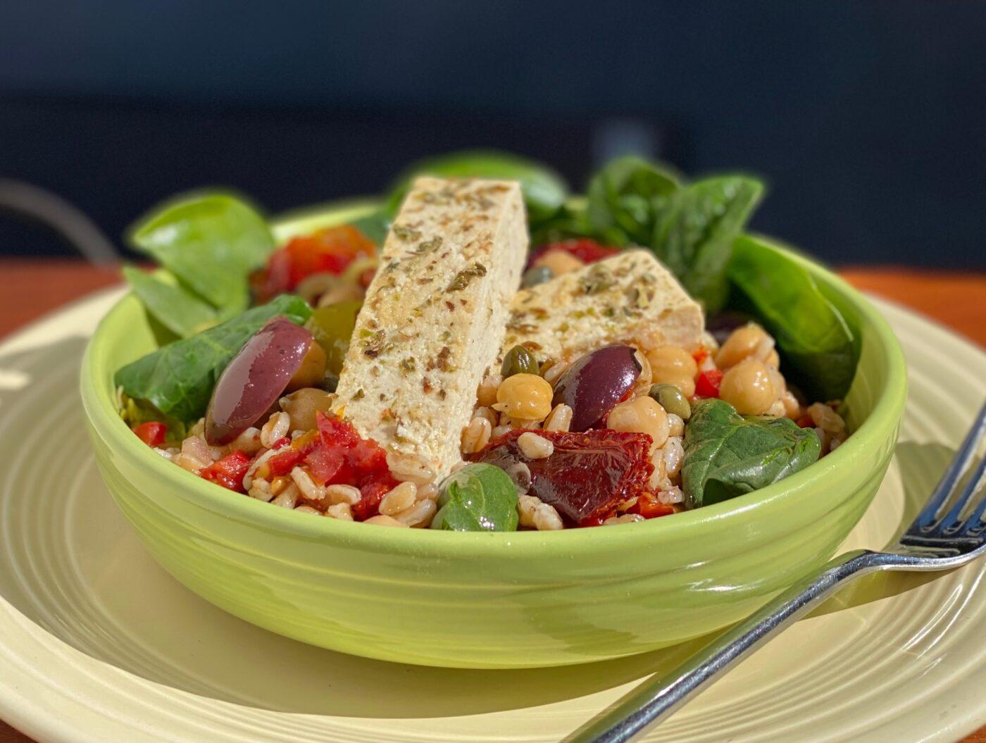 Mediterranean Farro & Tofu Grain Bowl