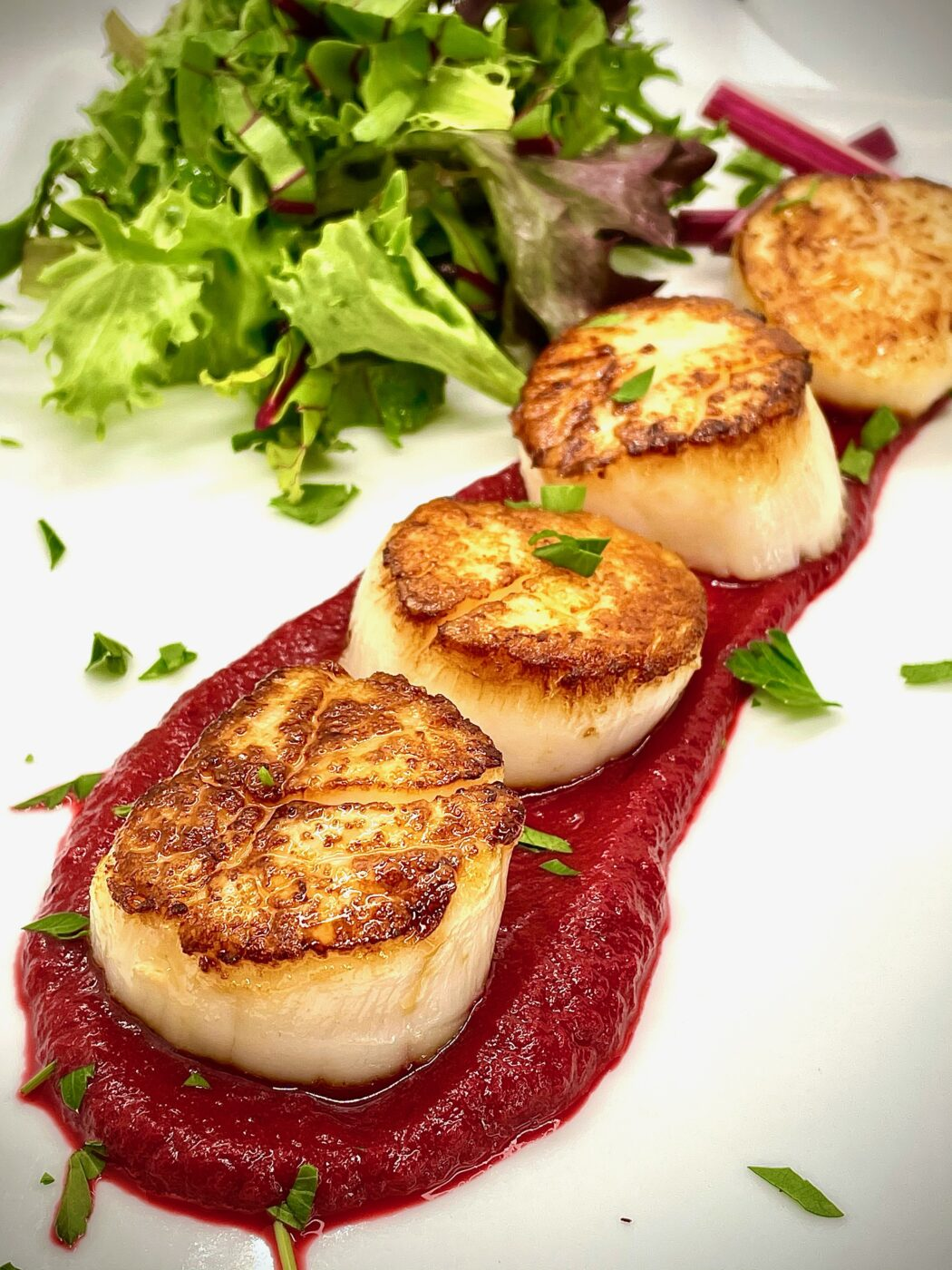 Seared Scallops with Roasted Garlic Beet Puree from THE CLUB