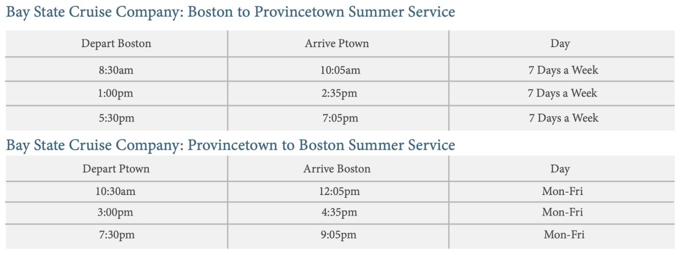 Provincetown Summer Ferry Schedule