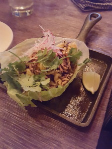 Kobe beef lettuce wrap with pickled vegetables, wild rice puffs, and special sauce at Adelaide Oyster House, St John's, Newfoundland - location of one of my favorite meals this year!