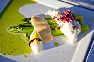 Salad of Sicilian burrata, asparagus, boiled egg, and lemon curd aioli, La Posada de Santa Fe ©Amiel Gervers Photography