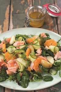 Orange, Spinach, and Salmon Salad Recipe by Chef Catherine Fulvio of Ballyknocken House and Cookery School in Glenealy, Ashford, Co. Wicklow. From The New Irish Table: Recipes from Ireland's Top Chefs