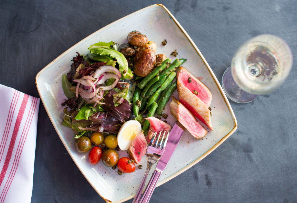 EATS Kitchen & Bar (Nicoise Salad). Breakfast at Hotel Irvine's Marketplace. From i8tonite: 24 Hours of Eating in Irvine, California