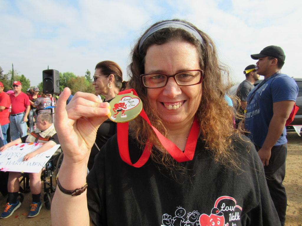 Nice picture of Dawn showing off her medal