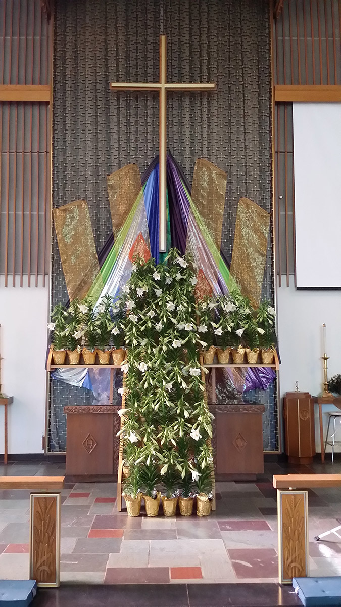 Church Sanctuary decorated for Easter