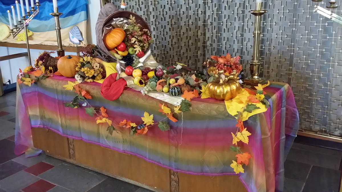 Thanksgiving Table Decorated in the Sanctuary