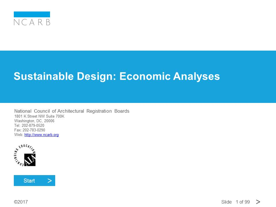 SUSTAINABLE DESIGN: ECONOMIC ANALYSES