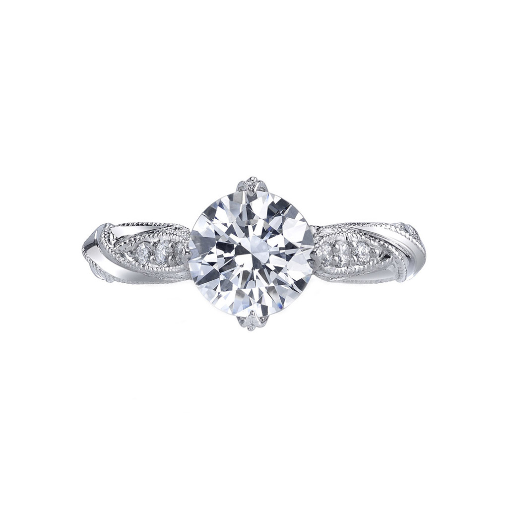 engagement ring shape, Scout Mandolin The Passionflower Round Brilliant Engagement Ring