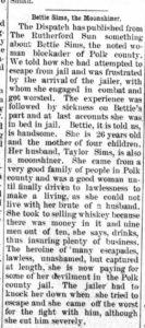 Newspaper clipping Bettie Sims Bootlegger October 4, 1906