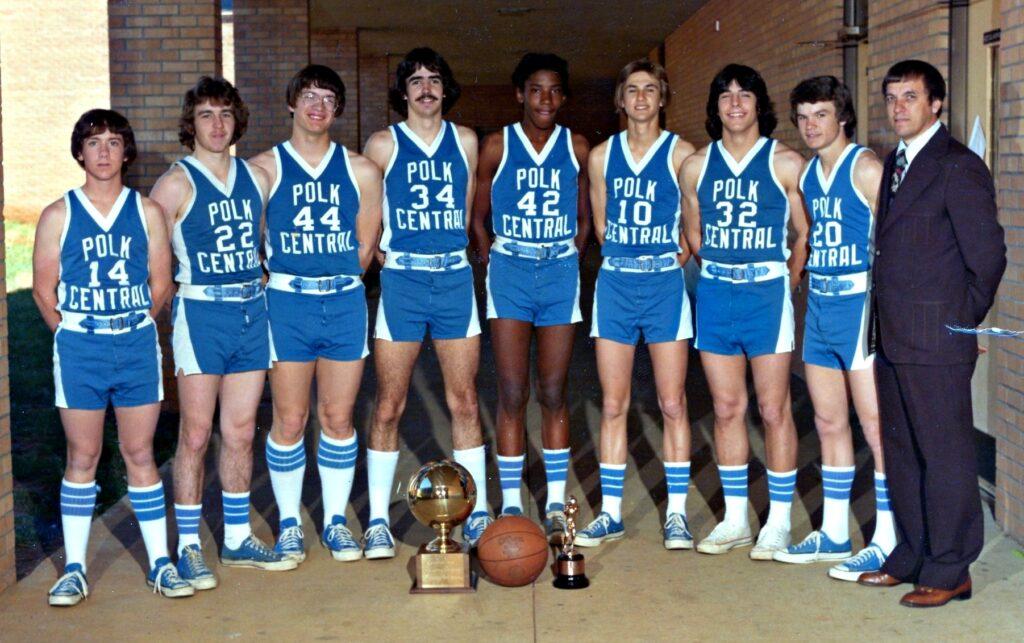 Polk County High School Boys Basketball 1977 Team Photo