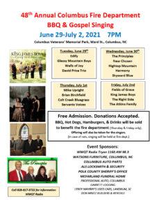 2021 BBQ & Gospel Singing event poster
