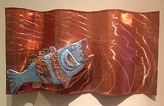 Copper Waves Ben Shuptrine 36in x 24.5in copper and inlaid steel nail head scales