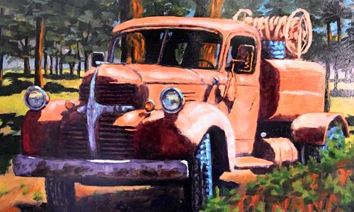 "Tom Moore, Water Truck, oil 20""x24"""