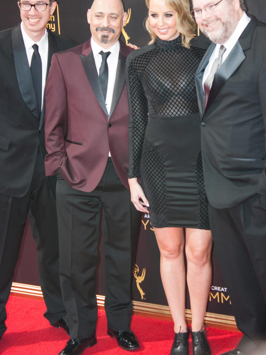 Mike Fasolo (writer), Tom Root (writer), Matthew Senreich (creator), and Deirdre Devlin (writer) Emmy's Creative Arts 2016 Red Carpet 4Chion Lifestyle