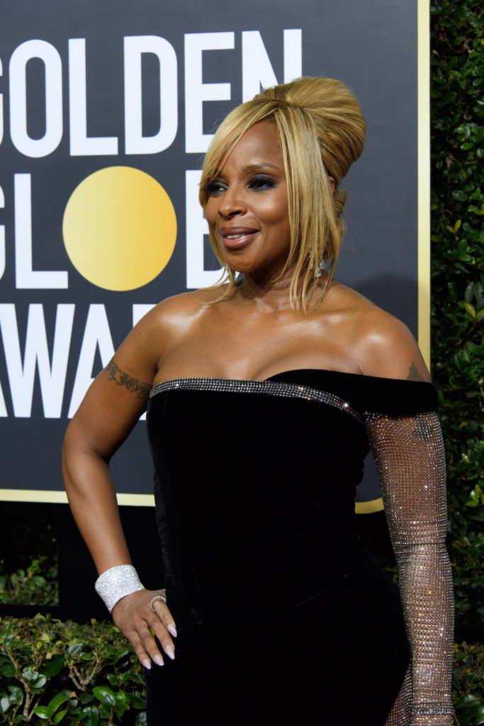 Mary J. Blige arrives at the 75th Annual Golden Globe Awards at the Beverly Hilton Red Carpet