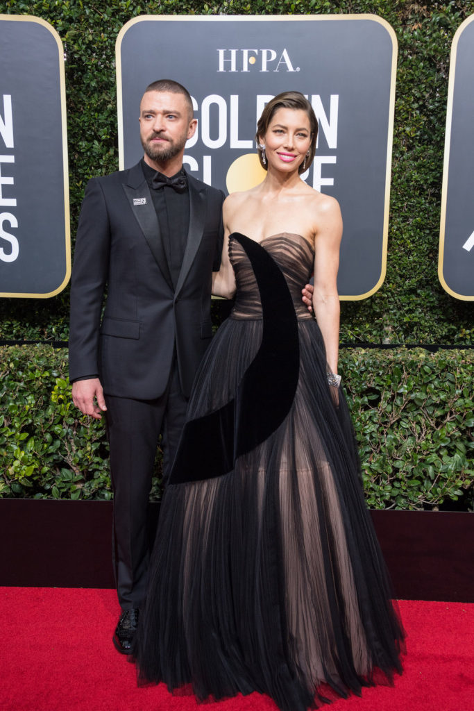Jessica Biel and Justin Timberlake attend the 75th Annual Golden Globes Awards at the Beverly Hilton red carpet