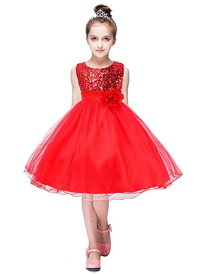 YMING Girls Flower Sequin Princess Dress Sleeveless Tutu Tulle Birthday Party Dress amazon ads 4chion lifestyle