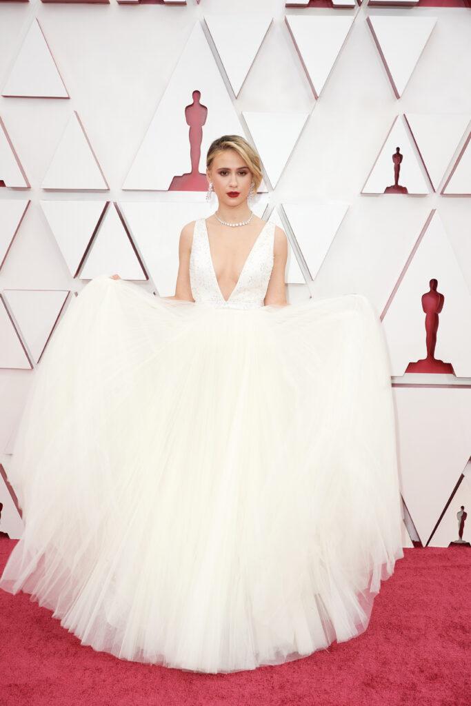 Maria Bakalova at The Academy Awards red carpet 4Chion Lifestyle 93rd Oscars