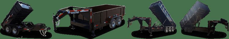 line of black trailers