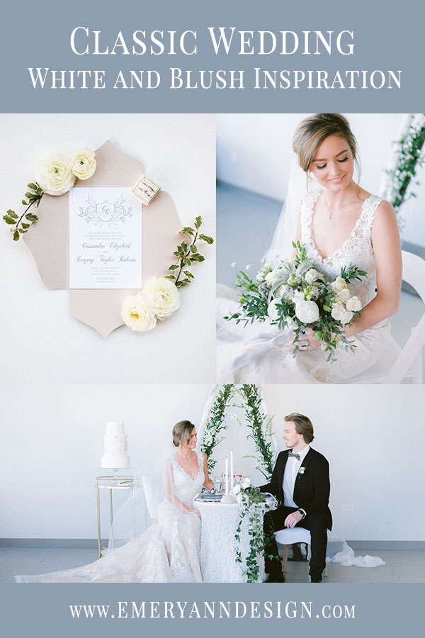 Classic Wedding featuring White and Blush Wedding Inspiration in Chicago at Gallery 1500