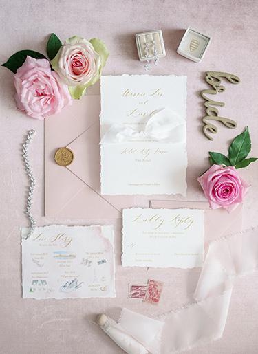 Romantic Blush Wedding Invitation taken at the Ritz Carlton Paris by Emery Ann Design