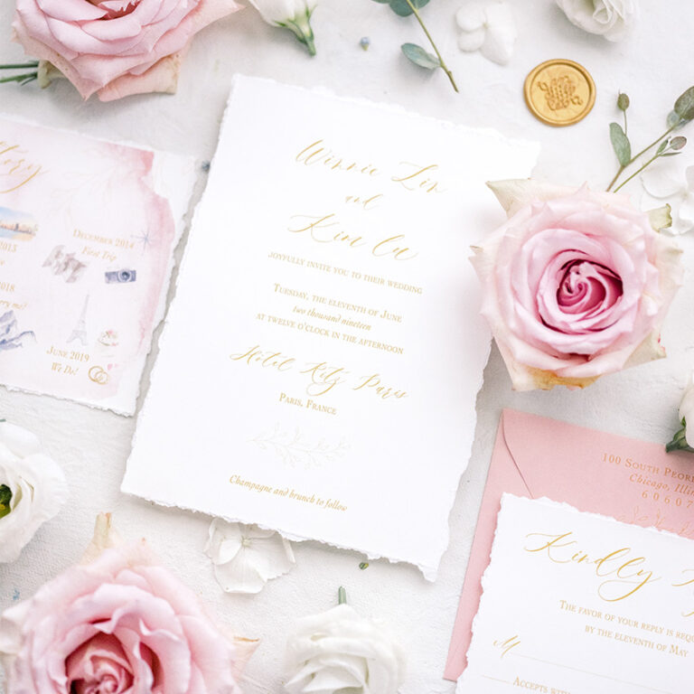 Blush Wedding at the Ritz Carlton in Paris with Hand Torn Edges by Emery Ann Design
