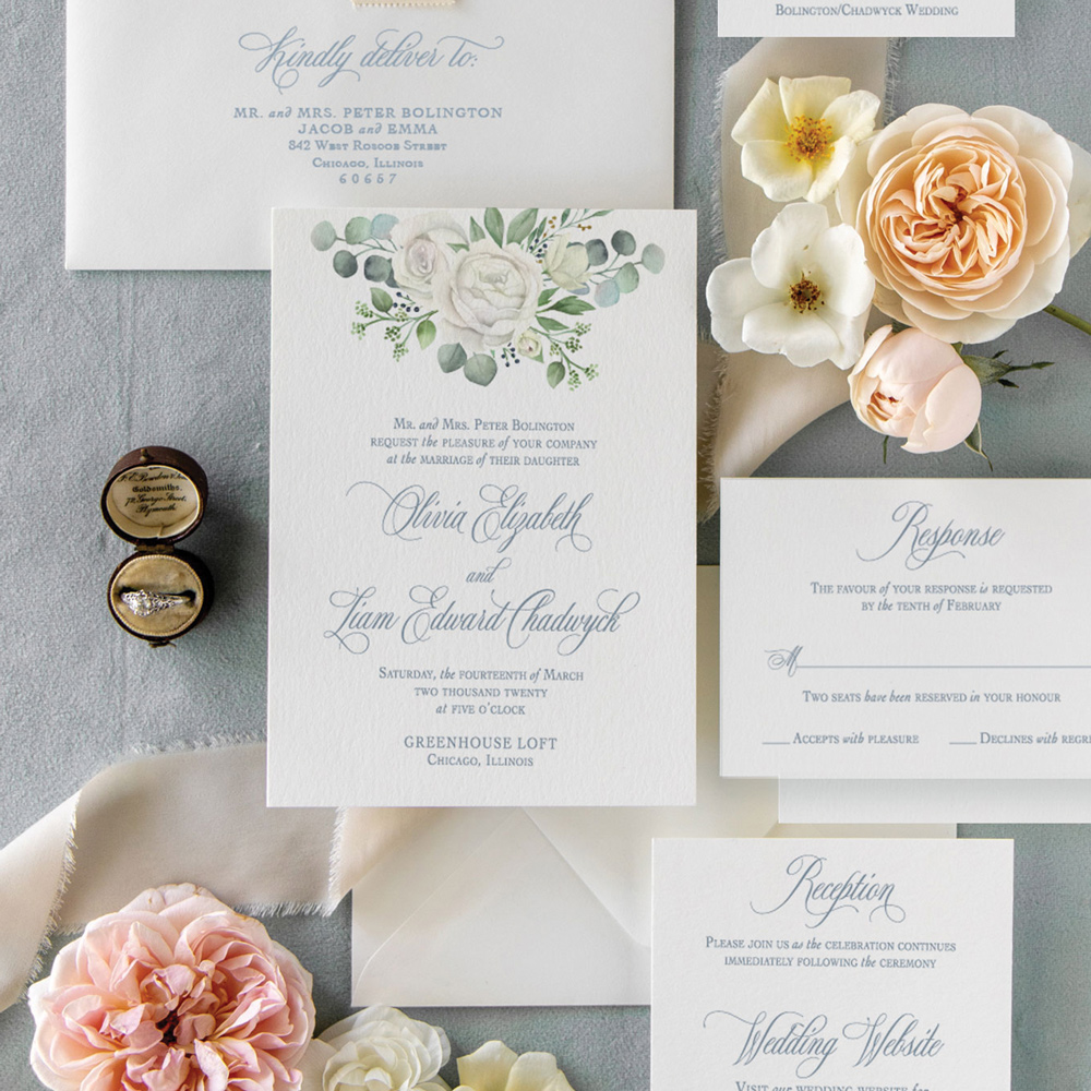 Eucalyptus wedding invitation at Greenhouse Loft by Chicago Wedding Stationer, Emery Ann Design.