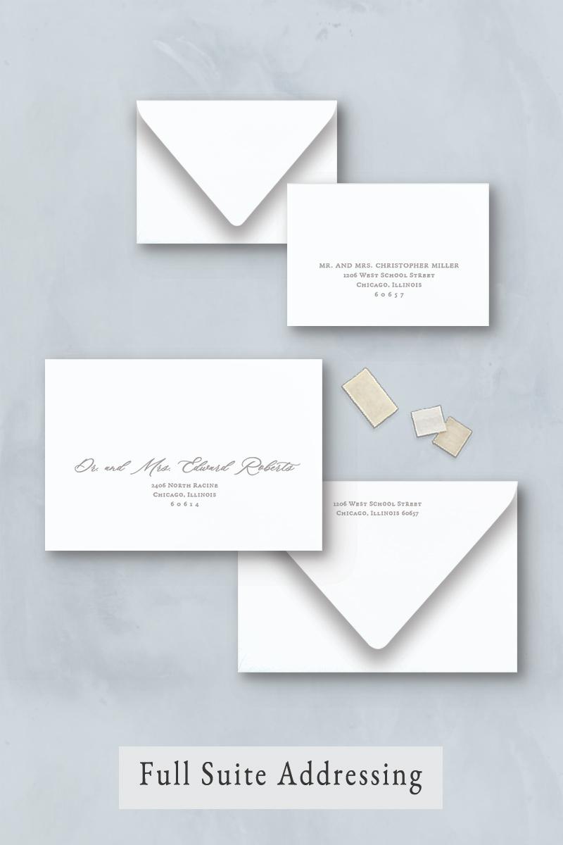 Wedding invitation envelope addressing for your guest address, return address, and response envelope.