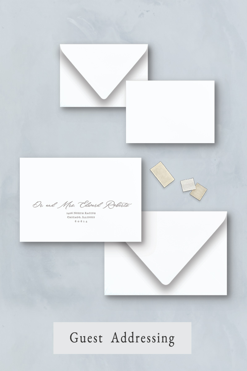 Wedding invitation envelope addressing for your wedding guests only.