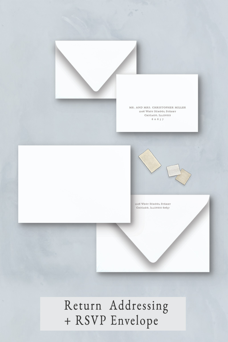 Wedding invitation envelope addressing with return address and response envelope. Perfect if you are hiring a calligrapher.