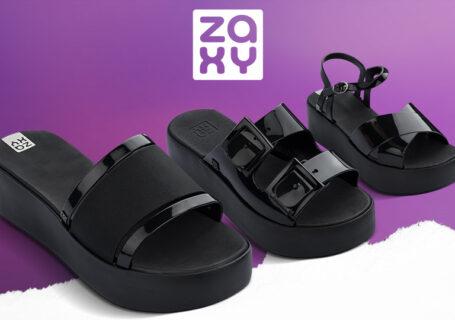 Três sandálias da Zaxy para comprar no atacado, uma ao lado da outra.