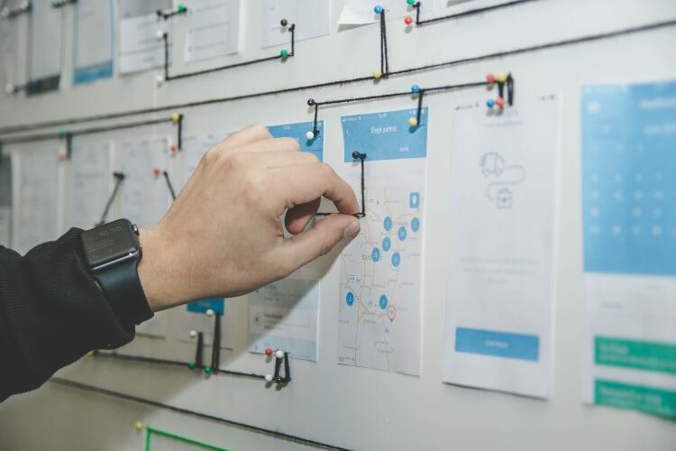 Painel com papéis de planejamento de processos.