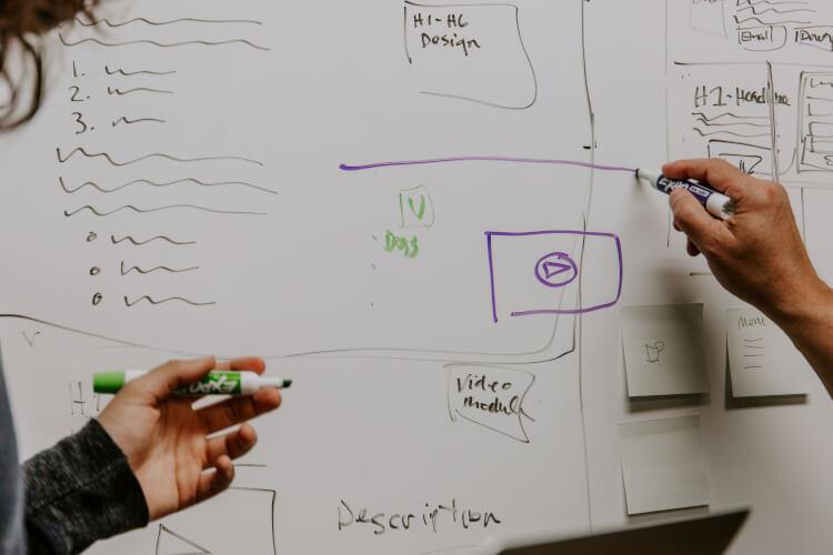 Gestores desenhando estratégias em um quadro branco.