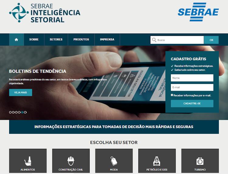 Página do SEBRAE Inteligência Setorial.