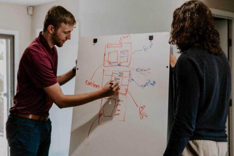 Pessoas desenhando estratégias em um quadro branco.