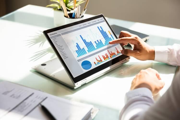 Analista verificando metas e indicadores no computador.