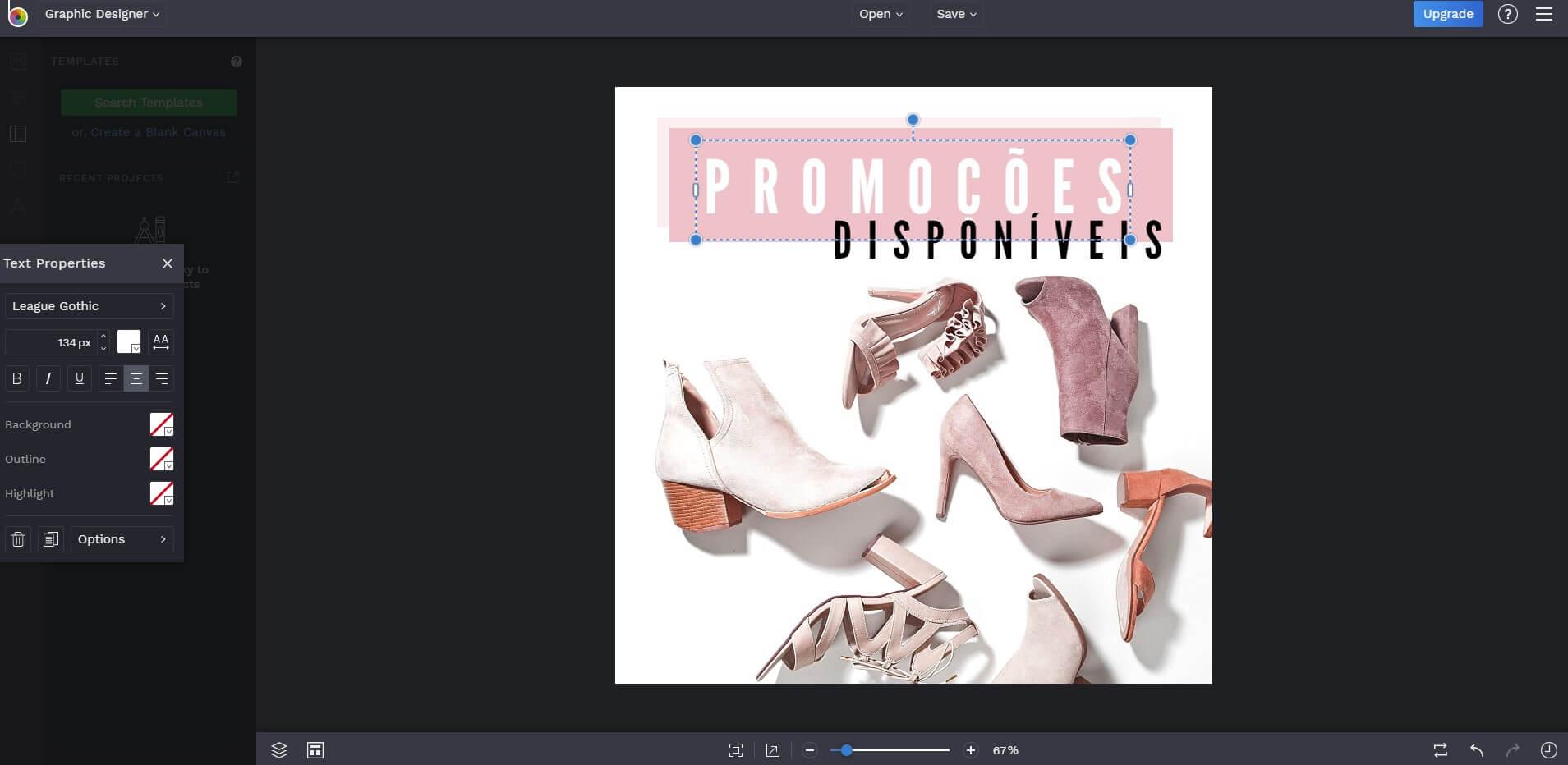 Captura de tela do BeFunky com propaganda de sapatos femininos.
