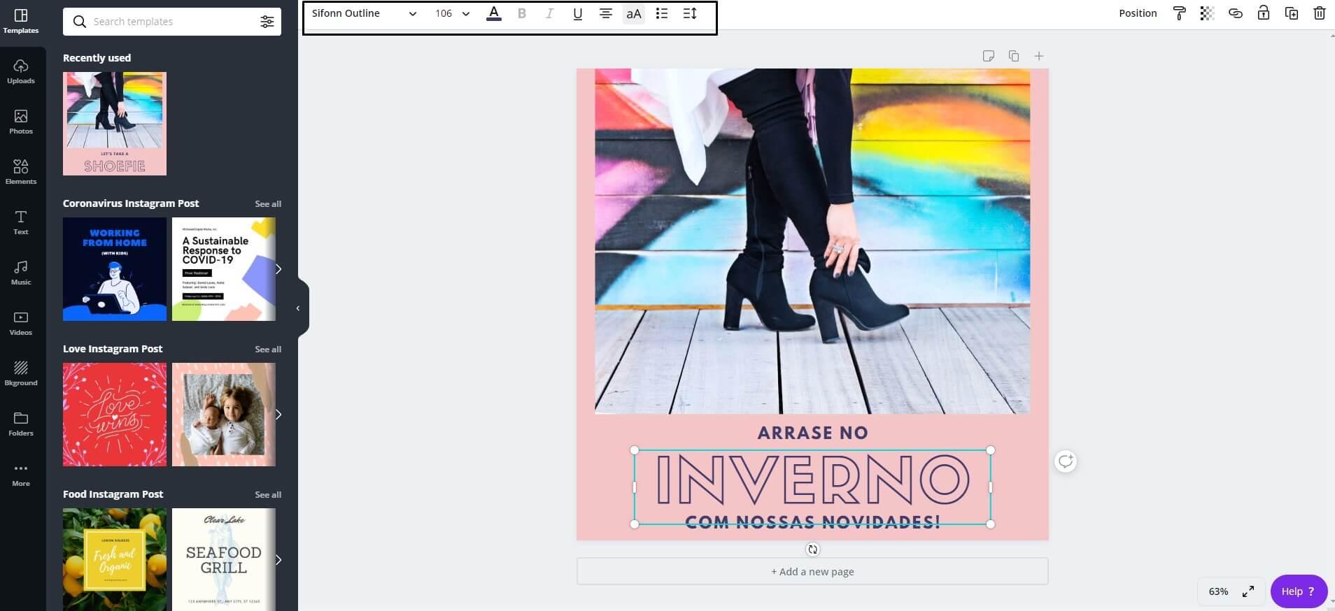 Captura de tela do Canva com propaganda para calçados femininos de inverno.