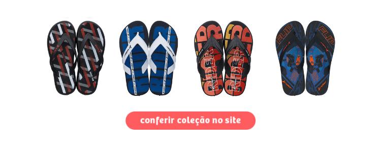 Chinelos da Rider com estampas coloridas para serem comprados na Daniel Atacado. Clique na imagem.