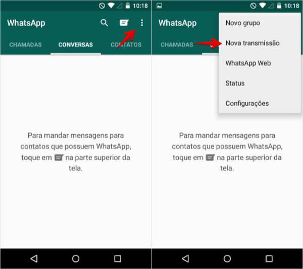 Telas do WhatsApp Business demonstrando como criar listas de transmissão no aplicativo.